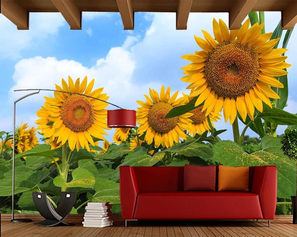 Papel De Parede Blooming Sunflower Landscape 3d Wallpaper Living Room Children Bedroom Kitchen Wall Papers Home Decor Mural Wallpapers Aliexpress