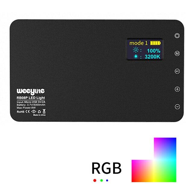 RB08/RB08P Ultra ince kısılabilir LED Video ışığı LED ekran pil ile kamera DSLR fotoğraf aydınlatma dolgu işığı