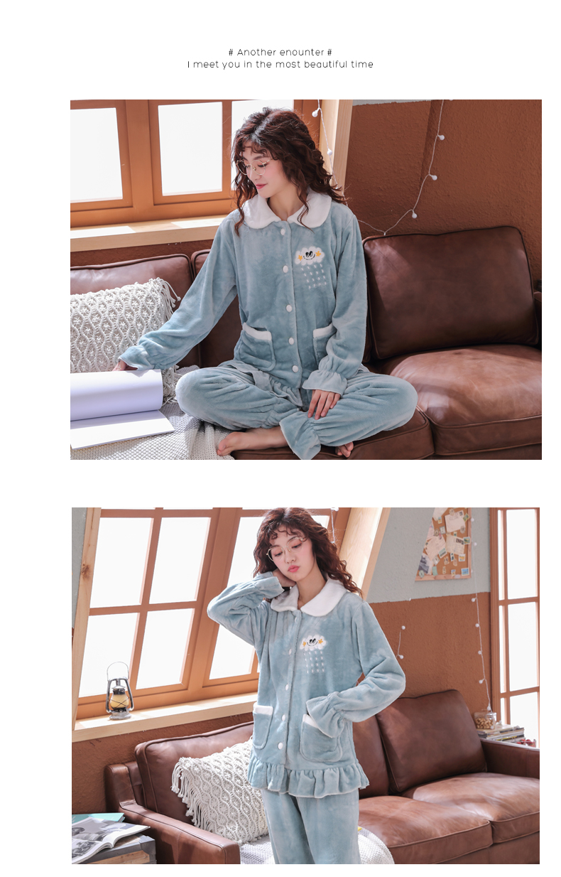 Plus Size 3XL 4XL 5XL Pyjamas women winter new Korean kawaii pink coral fleece warm pajama set thick flannel pijama home service 140