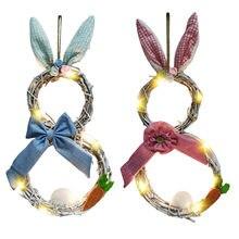 Behogarイースターバニーウサギのフロントドア花輪吊り飾りの装飾用のledライトとイースターパーティーの装飾用品
