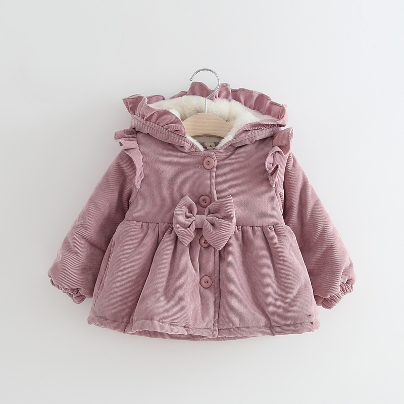Winter Baby Girls Coat Fashion Ruffles Pink Hooded Jacket Plus Velvet Thicken Warm Jacket Kids Lamb Cashmere Outerwear Coats