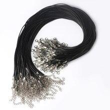 10 pièces de corde en cuir noir tressé réglable 1.5mm cordon de cire pour bricolage collier fait à la main homard fermoir chaîne bijoux chaînes 45mm
