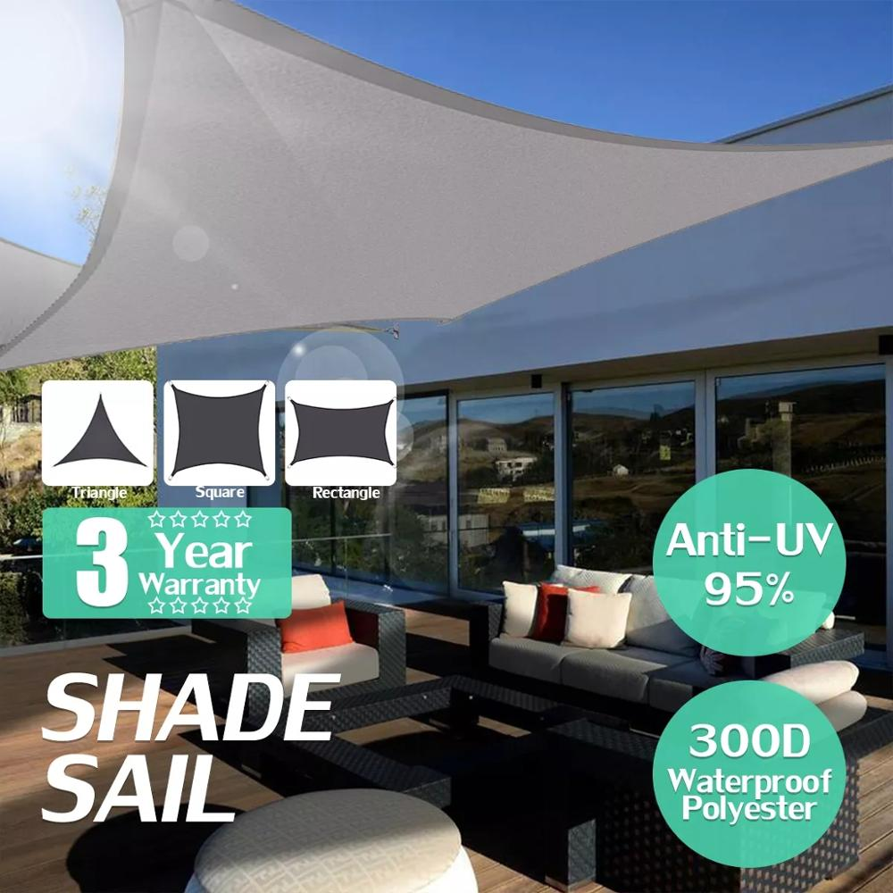 Waterproof 300D Gray Square Rectangle Shade Sail garden terrace Canopy swimming Sun shade Camping Hiking Yard sail awnings 2