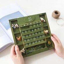 Mediterranean Mini Calendar Desk Figurine Creative Wood Animal Style Calendar Beautiful and Durable Home Wall Hanging Decoration