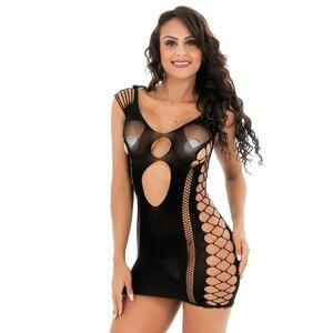 Image 1 - Robe érotique pour femmes, Lingerie Sexy, dos nu, dentelle, Perspective, Costumes de poupée Porno