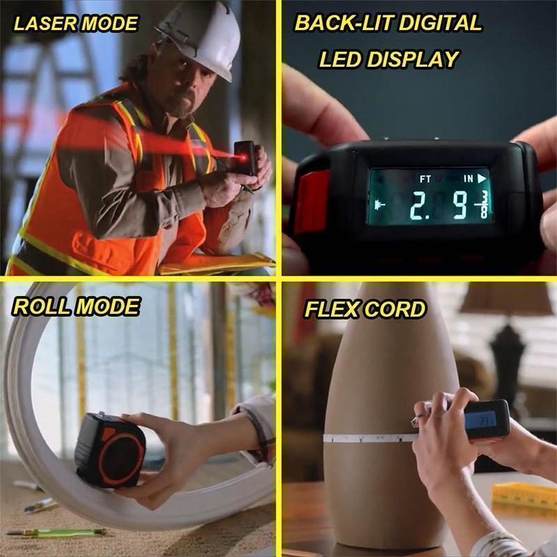 3 in 1 Display Measuring Ruler Laser Tape Measure Roulette Distance Meter Rangefinder Electronic Ruler LCD