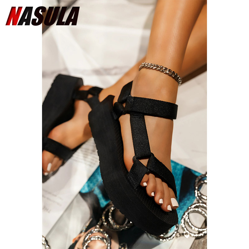 Women's Sandals 2021 Summer Shoes Ladies Foam Platform sandals Hook Loop Beach sandal for Woman Flat with Big size 35 43 Middle Heels  - AliExpress