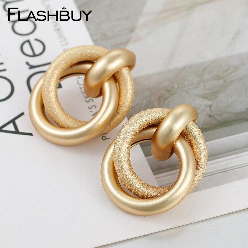 Flashbuy moda simples grande liga mudo brincos de gota de ouro para as mulheres do sexo feminino geométrico brincos na moda jóias do vintage decoração