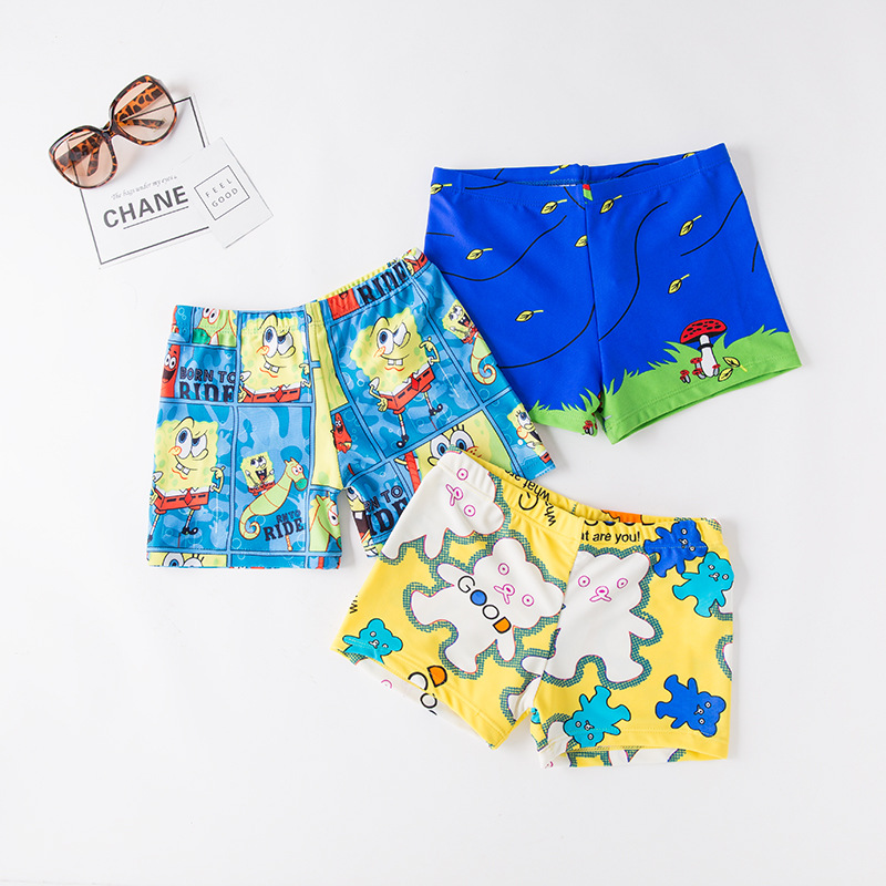 Short In Size Processing BOY'S Cartoon Swimming Trunks KID'S Swimwear Hot Springs Clothing