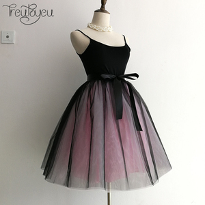 Image 5 - Gothic 6 Layers 65cm Mix Colors Tutu Tulle Skirt Women Streetwear High Waist Pleated Midi Skirts spudniczki jupe rokken faldas