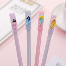 Cute creative cartoon fishbone gel pen carbon student stationery examination sign black