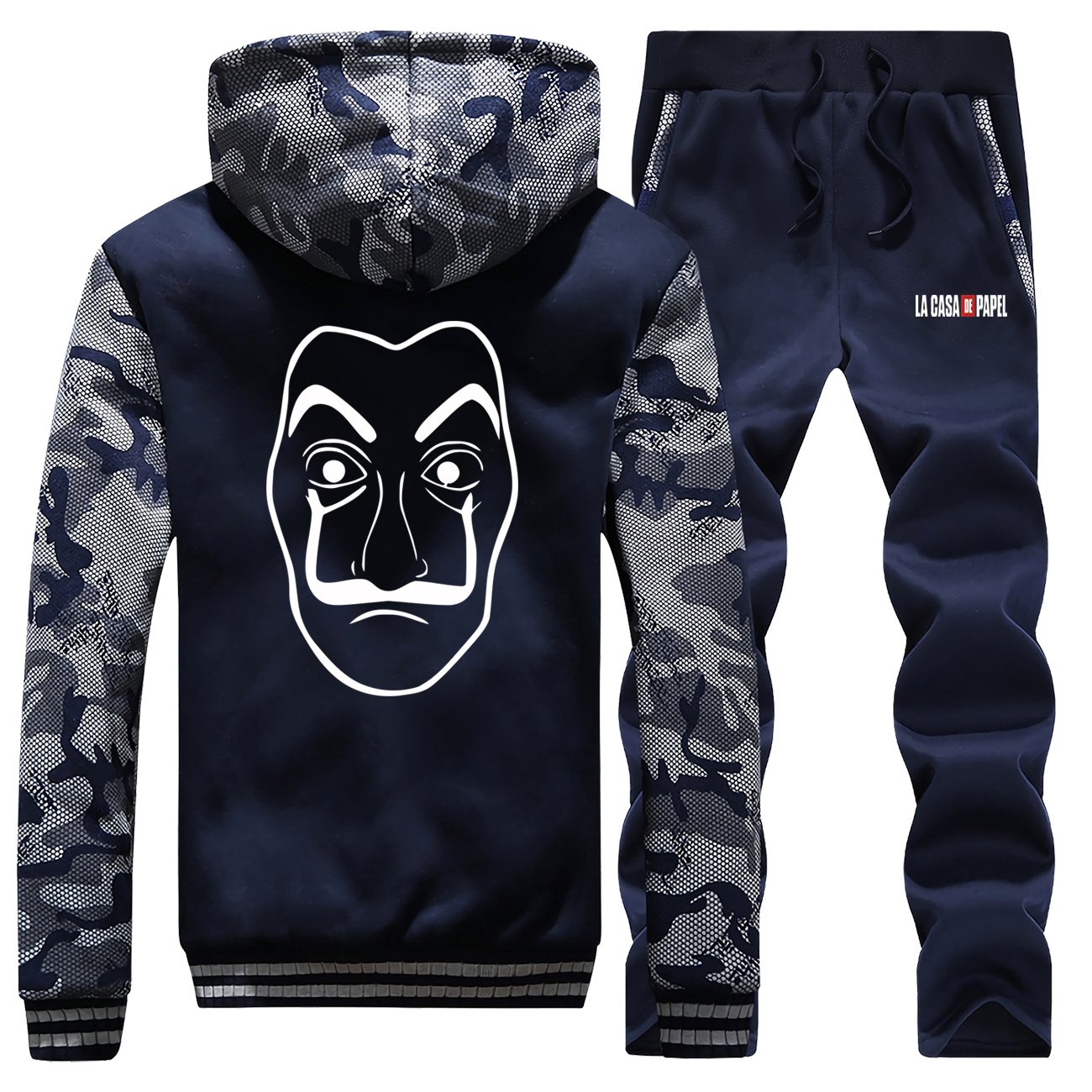 La Casa De Papel Thick Camouflage Hoodies+Sweatpants 2 Piece Set Hip Hop Men Sweatshirt Mens Brand Clothing Zip Winter Jacket