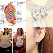 Love Shape Weight Loss Earrings 925 Pure Silver Cubic Zirconia Magnetic Therapy Thin Earrings Chakra Burning Fat Health Jewelry