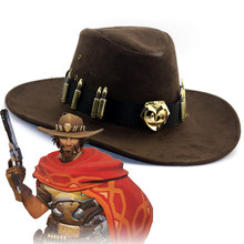 1:1 Cosplay Overwatch Game Jesse·Mccree Western Cowboy hat Role Play Flat Hat(China)