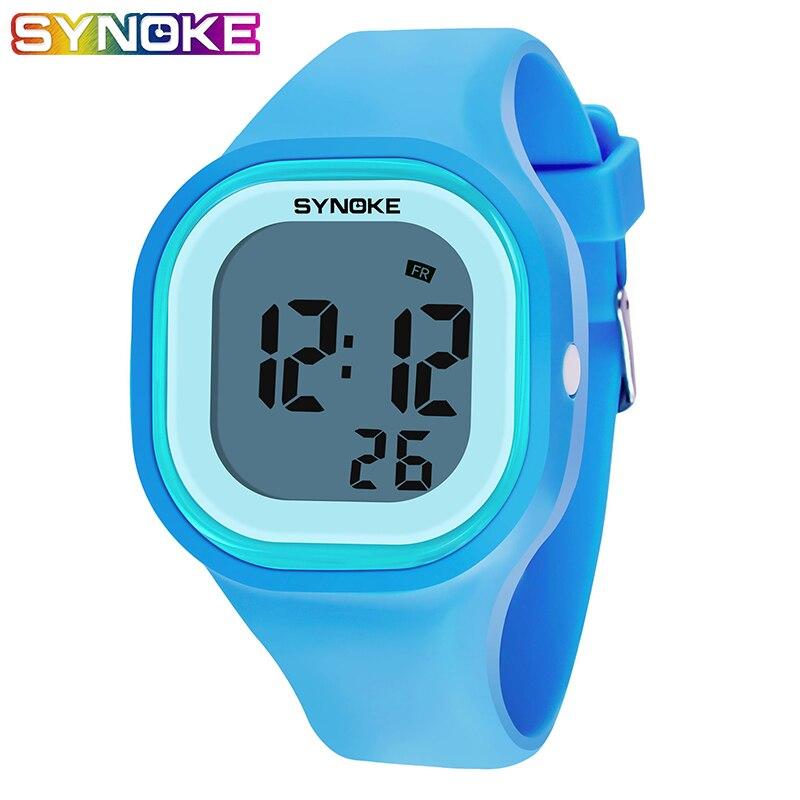 Saatler'ten Çocuk Saatleri'de Moda çocuk dijital saat çalar saat LED renkli ışık silikon su geçirmez erkek kız izle hediye erkek dijital saat title=