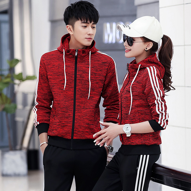2019 Spring And Autumn New Style Casual Couples Sports Set Men And Women Running Clothing Hooded Long Sleeve Fashion & Sports Tr