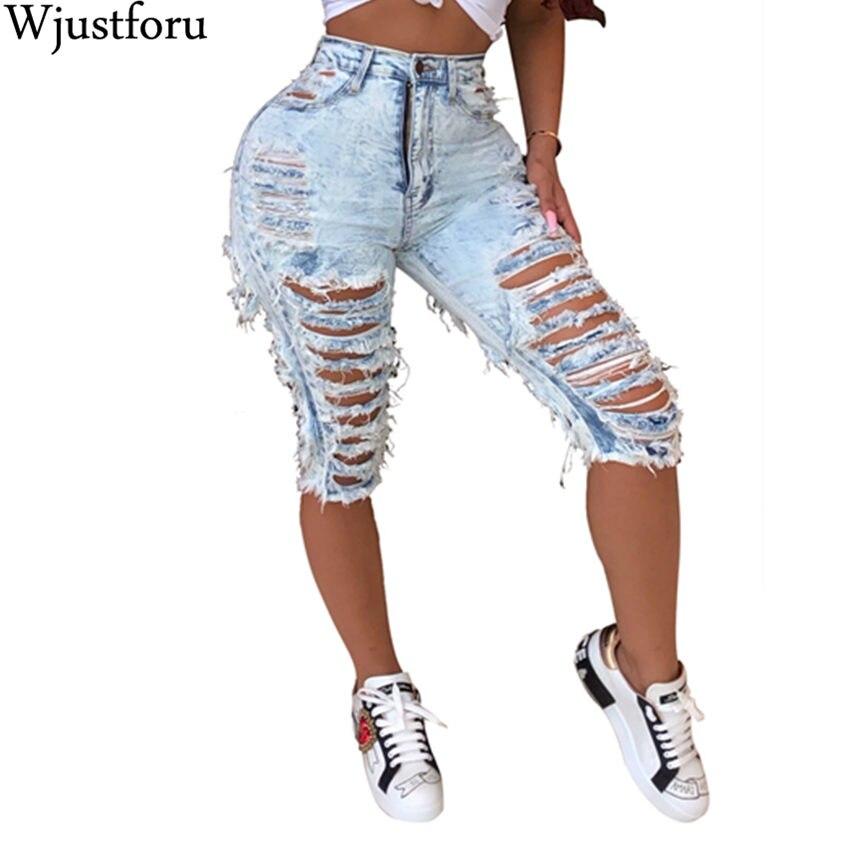 Wjustforu Denim Ripped Shorts Jeans Women Plus Size Casual Elastic Destroyed Sexy Hole Denim Shorts Packet Club Short Jeans