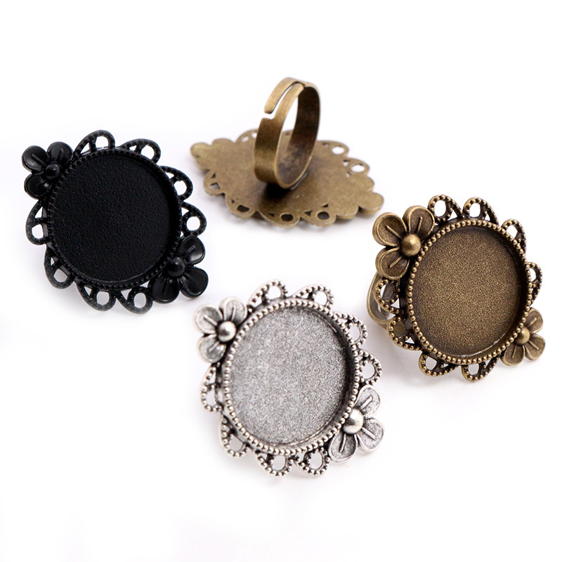 20mm 5pcs Antique Silver Plated Bronze Brass Adjustable Vintage Ring Settings Blank/Base,Fit 20mm Glass Cabochons,Buttons Bezels