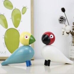 Figuritas de pájaros de madera de Denmark nórdico, títeres pintados de colores, figuras de animales para la decoración del hogar