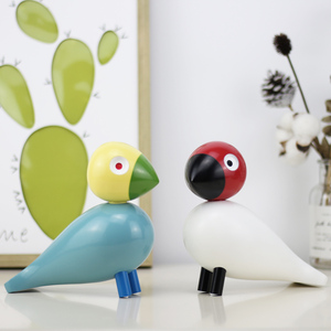 Nordic Denmark Wooden Bird Figurines Wood Carving Puppet Colorful Painted Sculpture Figure Animal Ornaments for Home Decoration(China)