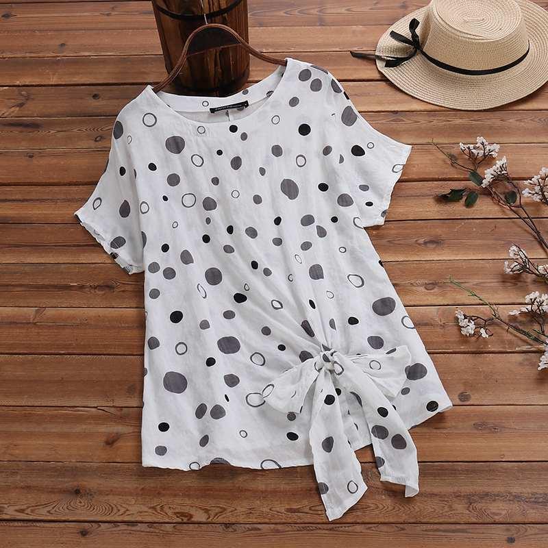 2020 ZANZEA Women's Irregular Blouse Vintage Printed Tee Shirt Polka Dot Sleeve Blusas Plus Size Female Summer Casual Tunic