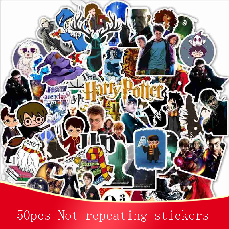 50pcs Harry Cartoon Sticky Waterproof Stickers Skateboard Suitcase Guitar Luggage Laptop Classic Phone Reusable Sticker Toys