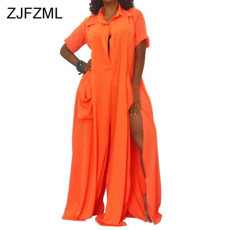 Buttons Side Split Sexy Club Jumpsuits Women Turn-Down Collar Short Sleeve Pockets Plus Size Rompers Autumn Solid Loose Overall