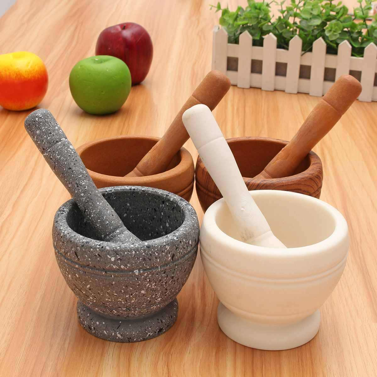 Mortar Pestle Spice Crusher Resin Bowl  Spice Pepper Crusher Herbs Grinder Garlic Mixing Bowl Press Bowl Kitchen Tools