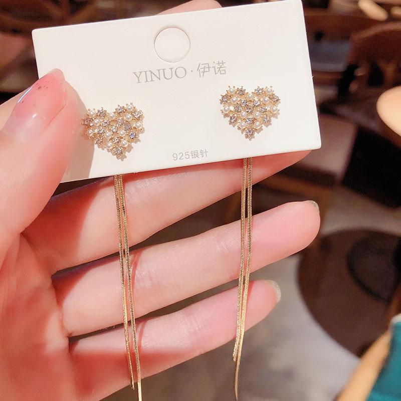 Korean pearl love tassel earrings ladies long style wild face thin two-wear pin earrings exquisite elegant Fashion Stud Earrings