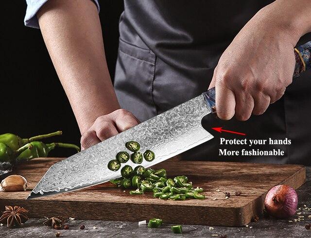 XITUO-Cuchillo para cocina, utensilio para Chef Nakiri de 67 capas en madera solidificada elaborado con acero japonés damasco, madera solidificada HD, 8 pulgadas 4