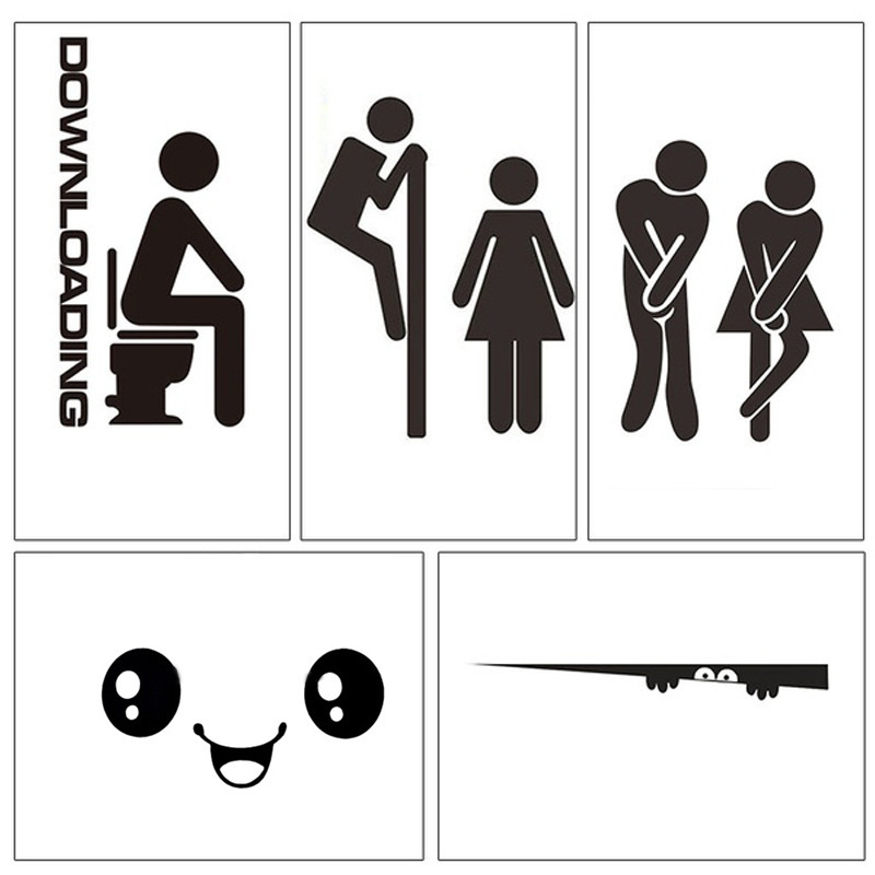 WCToilet Entrance Sign Door Stickers For Public Place Home Decoratio Creative Pattern Wall Decals Diy Funny Vinyl Mural Artстике
