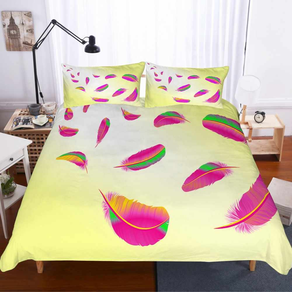 Light Feather Bedding Sets 2/3PCS Boys Girls Kids Duvet Cover Set Microfiber Bed Covers Pillowcase Bed Set Twin Queen King Size