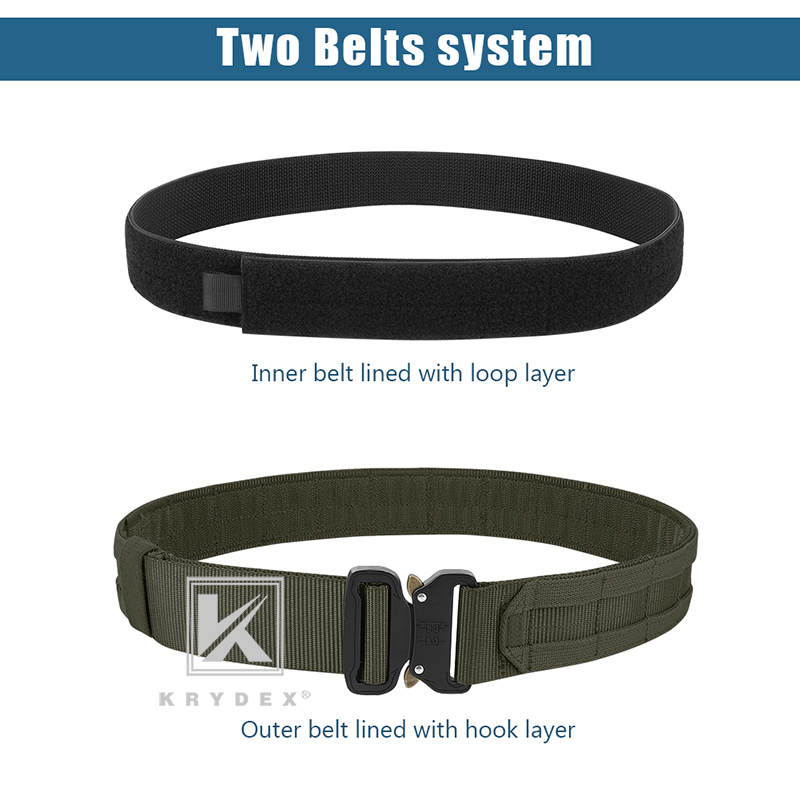 "KRYDEX 1.75"" & 1.5"" Tactical Cobra Belt Rigger Duty 2 IN 1 Outer & Inner Quick Release MOLLE Belt For Hunting Shooting Outdoor-3"