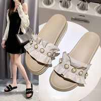 Sandals and slippers female 2020 summer fashion wear pearl flat bottom beach slippers wild sponge cake thick bottom sandals Z915