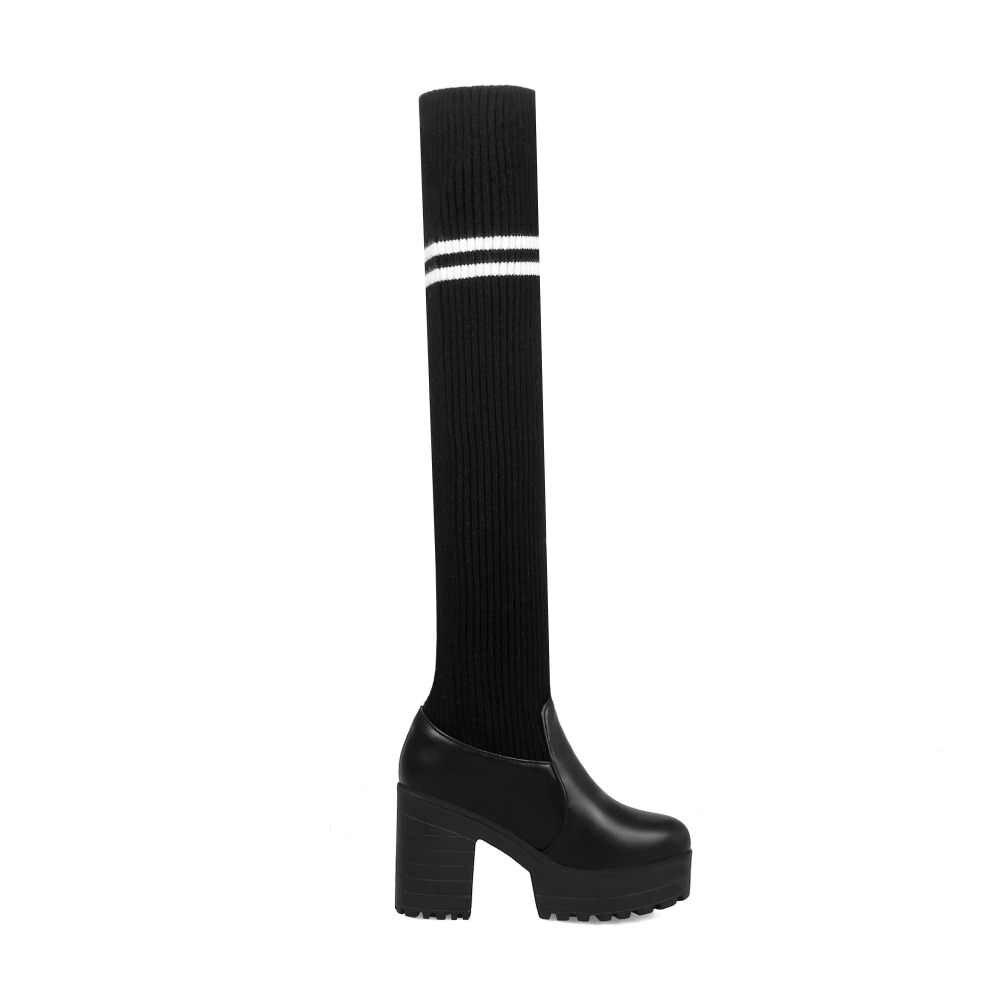 MEMUNIA Plus ขนาด 30-44 ถุงเท้ายาวรองเท้าสแควร์รองเท้าส้นสูงรองเท้าเซ็กซี่กว่าเข่ารองเท้าผู้หญิงสีดำต้นขาสูงรองเท้า