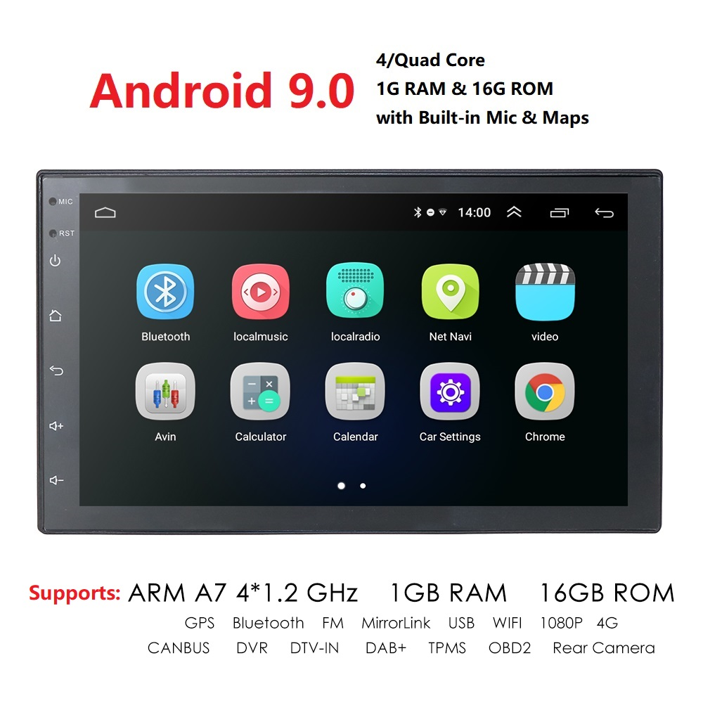 Android 9 0 Car Multimedia Player 2 din 7   touch FM radio with Bluetooth GPS WIFI 1024 600 Screen resolution