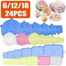 Couvercle alimentaire réutilisable en Silicone, 6/12/18/24 pièces, extensible, pour micro-ondes, universel, bol, ustensiles de cuisine