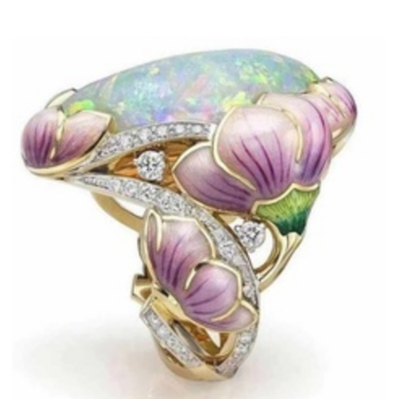 Female Vintage Enamel Opal Stone Casting Ring Exquisite Flower Cocktail Party Ring For Women Fashion Jewelry