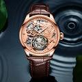 Echt Tourbillon Männer Mechanische Hand Wind Uhr Skeleton Uhr Tiger Zifferblatt Top Marke Luxus Sternzeichen Armbanduhren Relogio Masculino