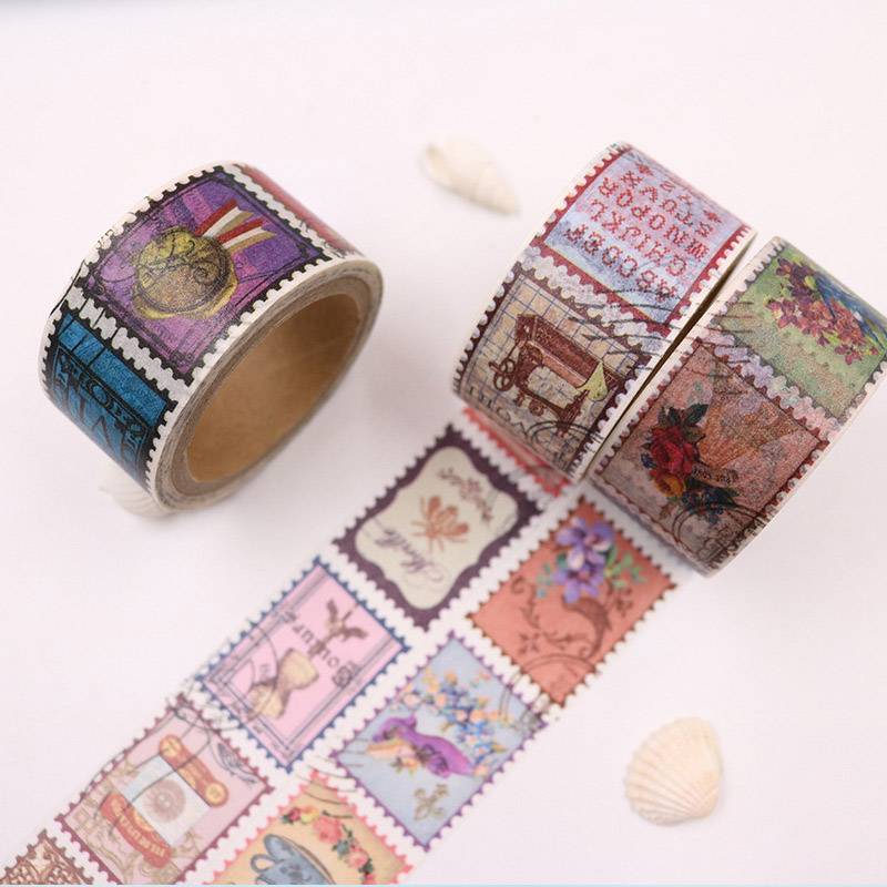 Retor Stamp Washi Tape Vintage Masking Tape Decorative Adhesive Tape For Sticker Scrapbooking Diary Stationery Decoration Supply