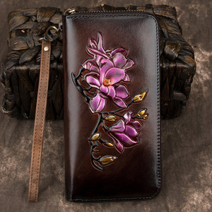 Genuine Leather Long Purse Wrist Money Bags Female ID Credit Cards Clips Floral Embossed Women Printing Clutch Wallet Zipper Bag(China)