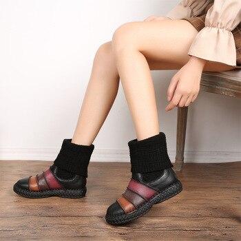 Botas De Punto Superior | 2019 Nuevas Explosiones Vintage Rayas Botas Mujeres Salvajes Zapatos De Cuero Genuino De Punto Botas Calientes Nieve Alta Lana Zapatos