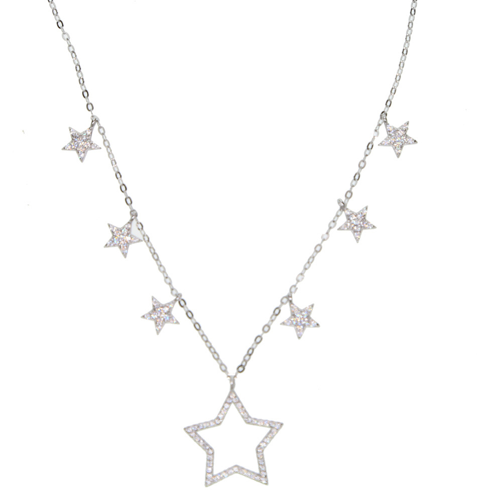 33+7cm Fashion 925 sterling Silver star Choker Necklace cz drop charm Minimal Delicate lovely gorgeous Jewelry for women girls