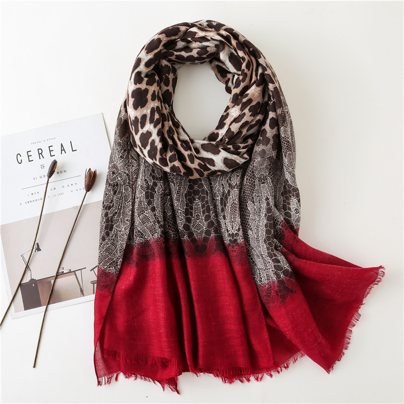 Cotton And Hemp Leopard Printed Lace Splicing Fashion Scarf  Korean Style New Tourism Shawl Autumn And Winter 2020