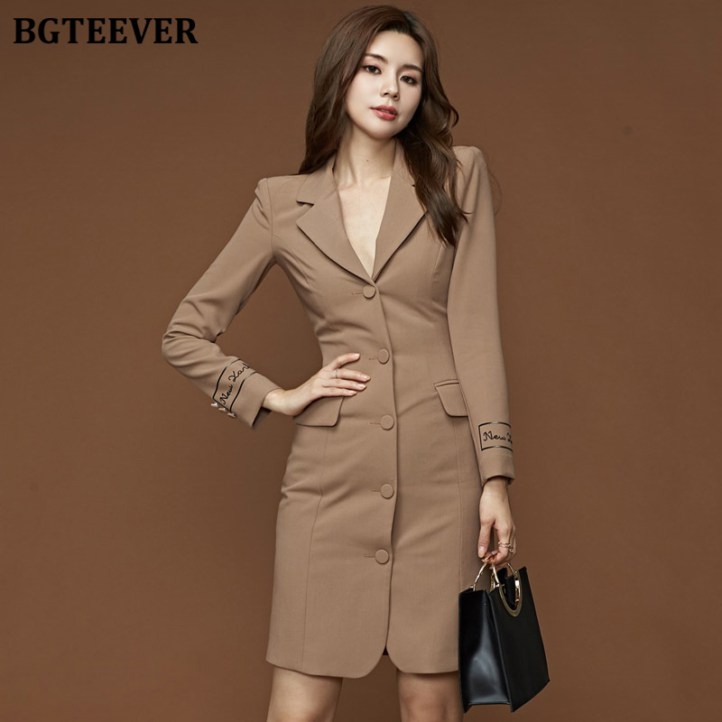 Elegant Notch-collar Women Blazer Dress 2019 Winter Full Sleeve Single-breasted Female Dress OL Style Bodycon Suit Vestidos