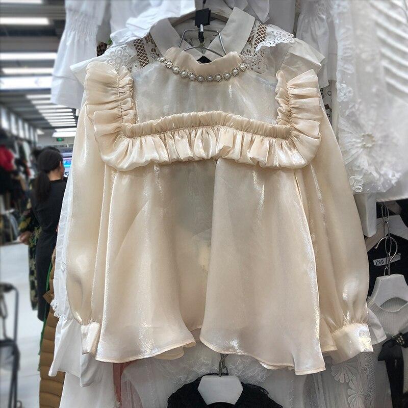 2020 printemps nouveau Style coréen haut de poupée de mode perle maille Blouse femmes chemise Blouses lâches filles dames Blusas Femme