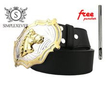 Horse Western Belt Buckle Silver with Gold Finished Luxury Animal Buckles for Men Leather