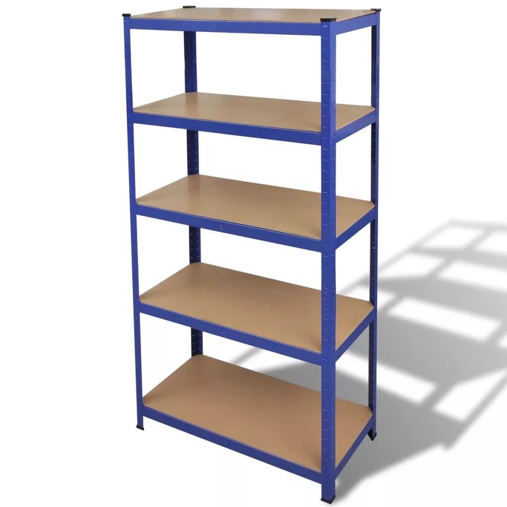 VidaXL Storage Shelf Garage Storage Organizer Blue Shelf Heavy Duty Black Storage Shelving Rack