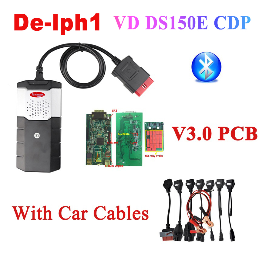 2019 obd2 best V3.0 PCB VD DS150E CDP 2016.R0 keygen bluetooth diagnostic tool for delphis autocome WOW cdp 8 pcs car cables-in Car Diagnostic Cables & Connectors from Automobiles & Motorcycles