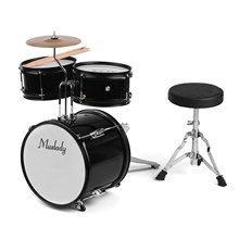 Kids Children Junior Beginners 3-Piece Drum Set Drums Kit Percussion Musical Instrument with Cymbal Drumsticks Adjustable Stool(China)